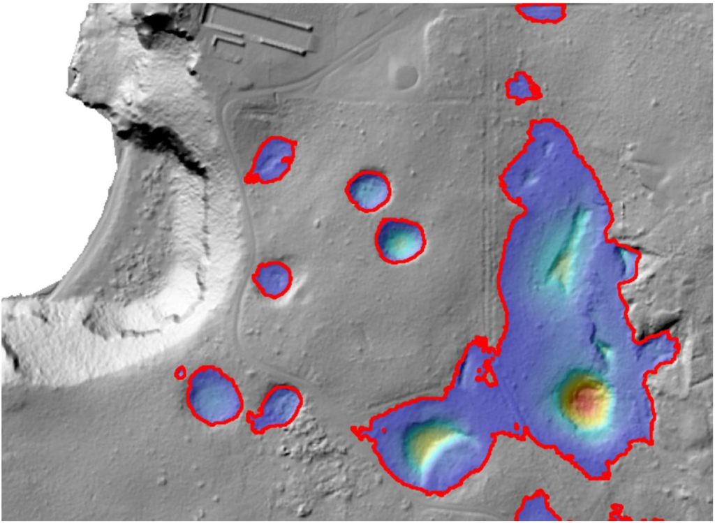 LiDAR image of sinkholes and surface depressions (Haputo Bay area).